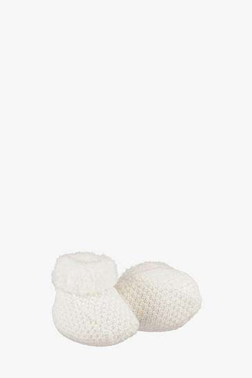 The Little Tailor Cream Knitted Plush Lined Booties