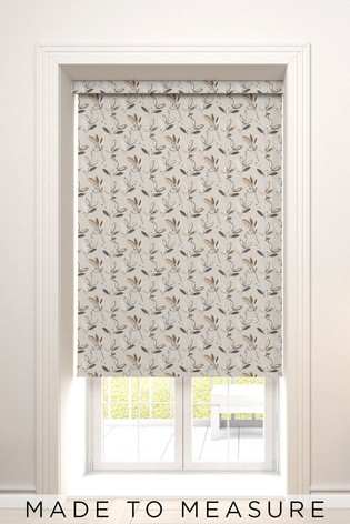 Fusion Leaf Smoke Natural Made To Measure Roller Blind