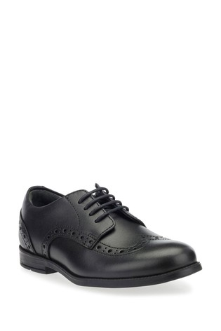 Start-Rite Brogue Snr Black Wide Fit Leather Shoes