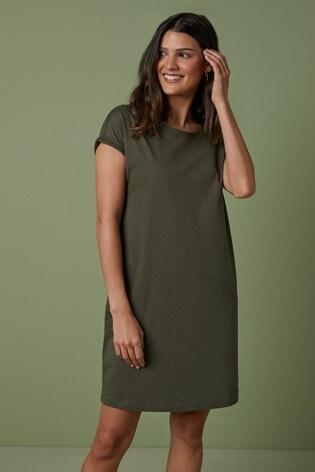 Khaki Jersey Boxy T-Shirt Dress