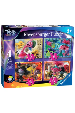 Ravensburger Trolls 2 World Tour, 4 In A Box 12, 16, 20, 24pc Jigsaw Puzzles