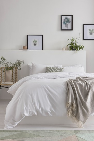 White Cotton Rich Duvet Cover And Pillowcase Set