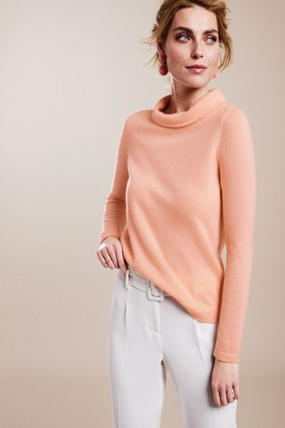Pure Collection Pink Cashmere Bardot Sweater