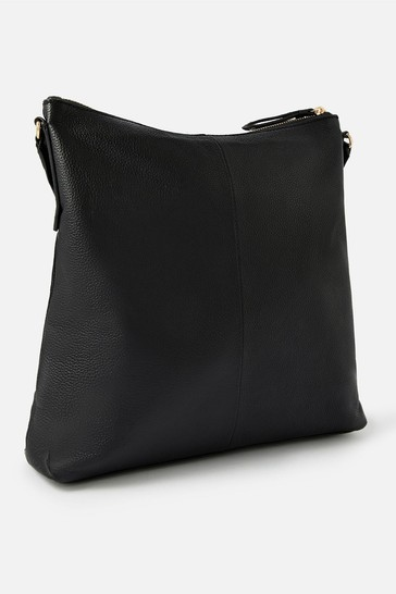 Accessorize Black Leather Large Messenger Cross Body Bag