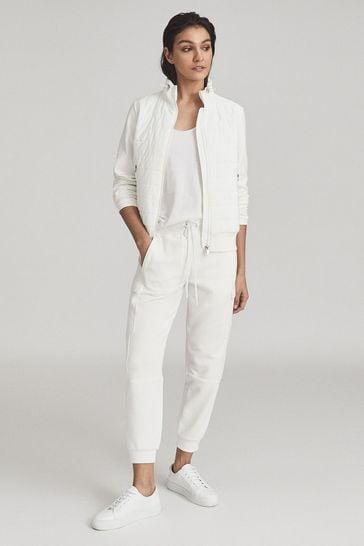 Reiss White Harper Hybrid Zip Through Quilted Jacket