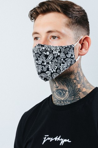 Hype. Adult Black Paisley Print Face Covering