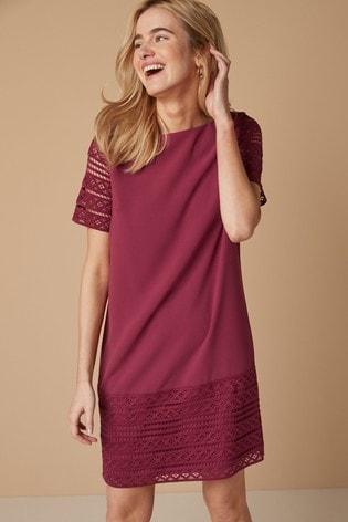 Plum Lace Detail Shift Dress