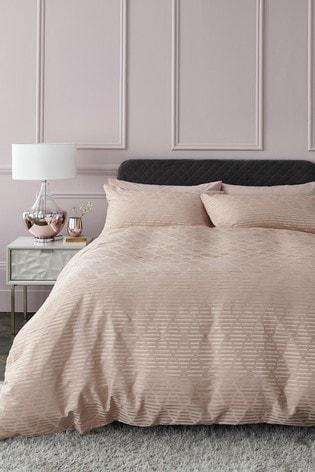 Shiny Geo Jacquard Duvet Cover And Pillowcase Set
