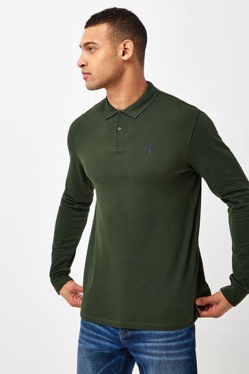 Dark Khaki Long Sleeve Pique Polo Shirt