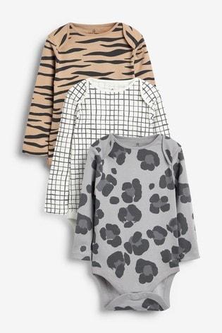 Charcoal 3 Pack GOTS Organic Animal Print Long Sleeve Bodysuits (0mths-3yrs)