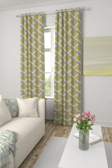 Optical Geo Ochre Yellow Made To Measure Curtains