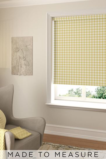 Gingham Sunshine Yellow Made To Measure Roller Blind