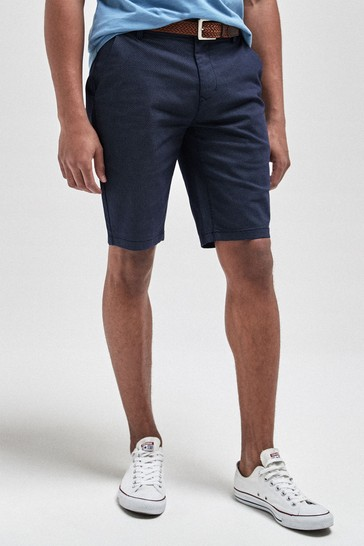 Navy Slim Fit Ditsy Print Belted Chino Shorts