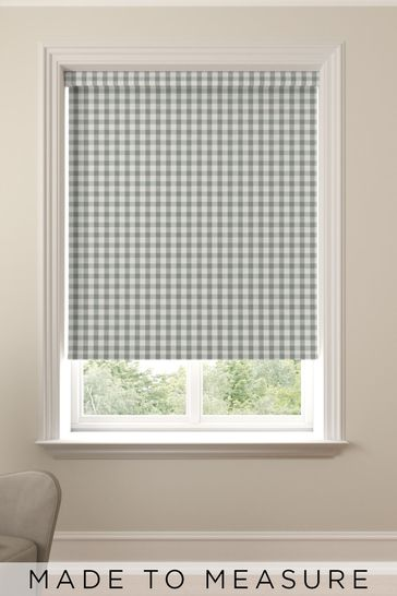 Gingham Sage Green Made To Measure Roller Blind