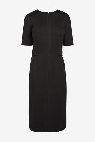 Black Waist Detail Ponte Bodycon Dress