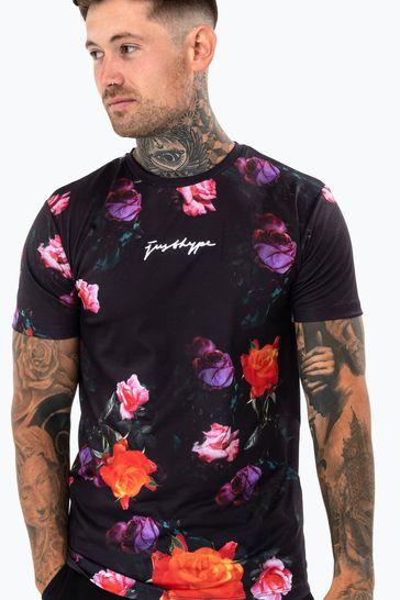 Hype. Mens Black Night Roses T-Shirt