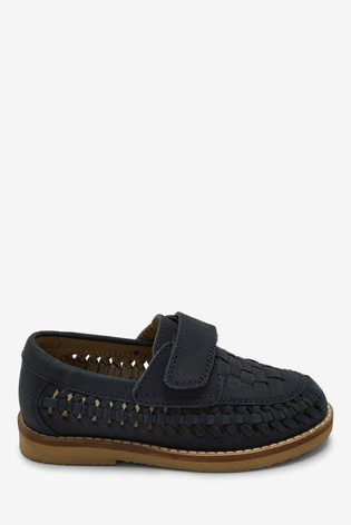 Navy Woven Loafers