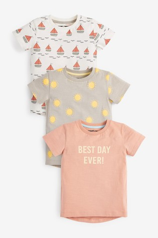 Peach Boats 3 Pack All Over Print T-Shirts (3mths-7yrs)