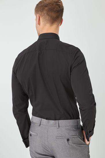 Black Slim Fit Double Cuff Cotton Shirt