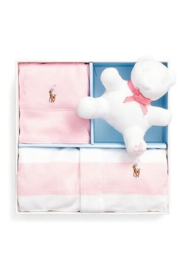Ralph Lauren Pink And White Stripe Dress Gift Set