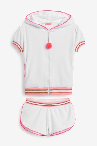 Sunuva White Short Sleeve Towelling Hoodie And Shorts Set
