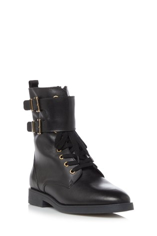 Dune London Pictor Black Buckled Lace-Up Boots
