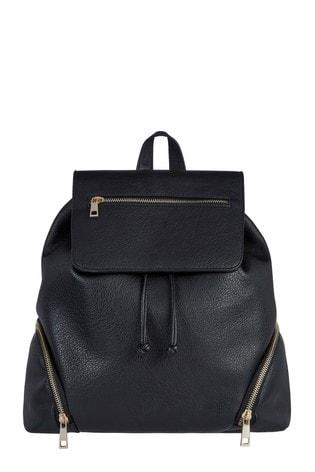 F&F Black Zip PU Backpack