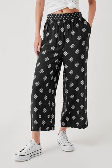 Black Geo Woven Culottes