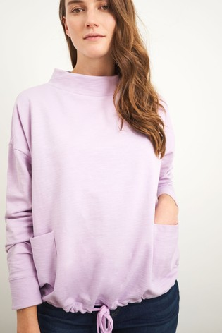 White Stuff Purple Tie Hem Sweater