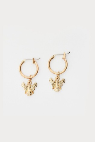 White Stuff Metallic Bee Hoop Earrings