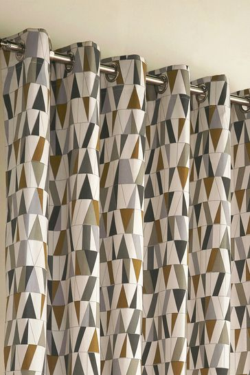 Reno Geo Eyelet Curtains by Furn