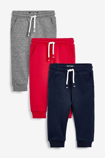 Red/Grey/Navy 3 Pack Soft Touch Joggers (3mths-7yrs)