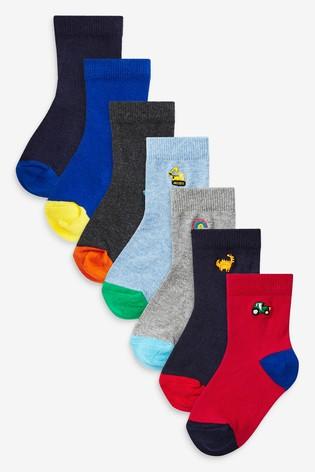 Bright 7 Pack Motif Cotton Rich Socks