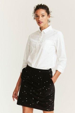 FatFace Natural Olivia Embroidered Star Shirt