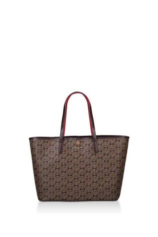 Kurt Geiger London Tan Leather Violet Horizontal Tote Bag