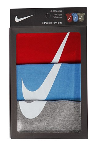 Nike Baby Red White and Blue Sleepsuits 3 Pack