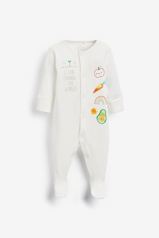 Bright Vegetable 3 Pack Appliqué Sleepsuits (0-2yrs)