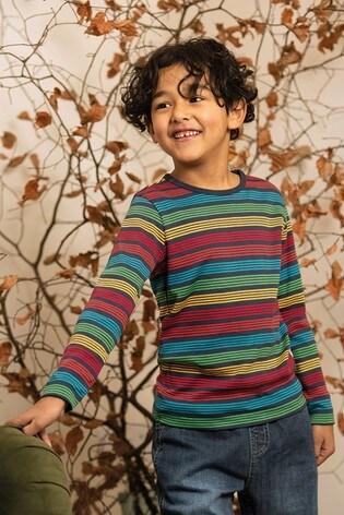 Frugi Navy Rainbow Stripe Organic Cotton Long Sleeve Top