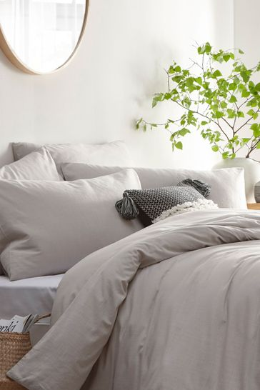 Stonehouse Washed Cotton Linen Look Duvet Cover and Pillowcase Set by Riva Home