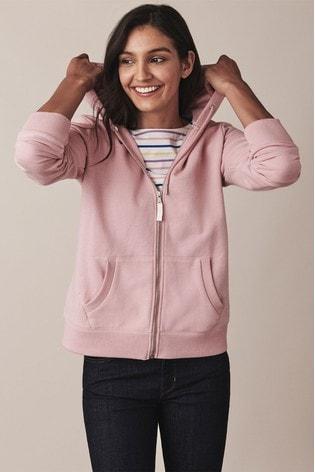 Crew Clothing Pink Heritage Zip Through Hoody