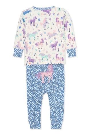 Hatley Cream Playful Ponies Organic Cotton Baby Pyjama Set