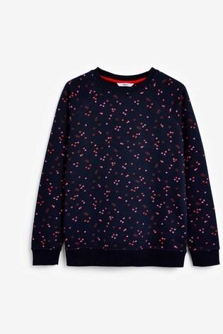 Navy Heart Printed Sweatshirt