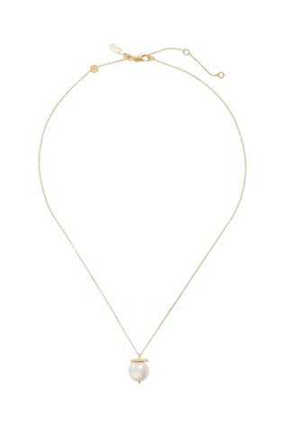 Oliver Bonas Gold Plated Almeta Freshwater Pearl & Bar Necklace