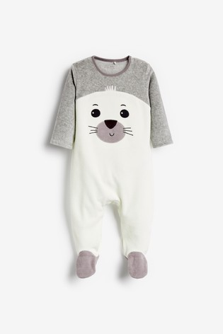 White Seal Velour Sleepsuit (0-18mths)