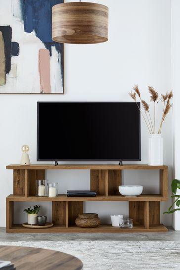 Bronx Oak Effect Open Wide TV Stand