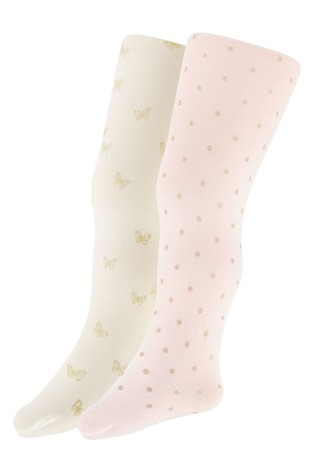 Monsoon Baby Glitter Print Tights Two Pack