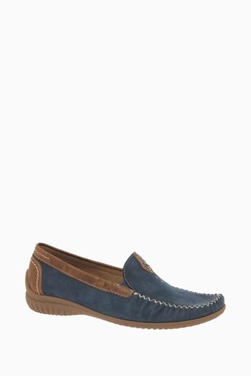 Gabor California Navy Nubuck Moccassin Shoes
