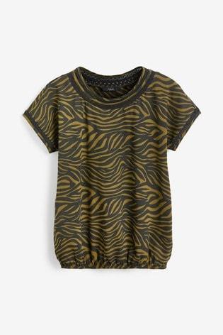 Khaki Zebra print Bubble Hem T-Shirt