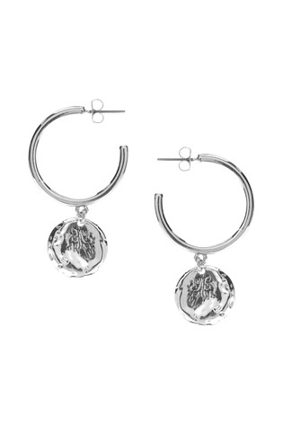 Mint Velvet Silver Tone Drop Disc Hoop Earrings