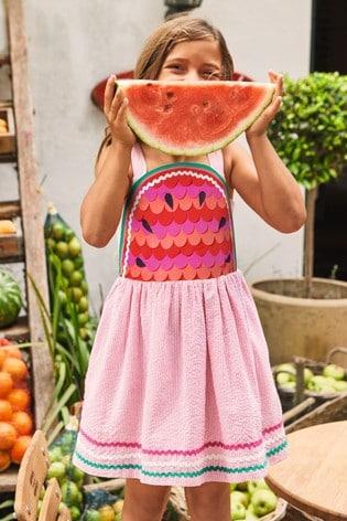Boden Red Watermelon Embellished Dress